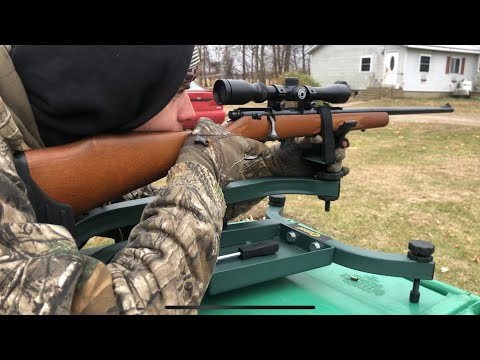 Marlin .22 at 50 yds with Barska scope (complete sight in)